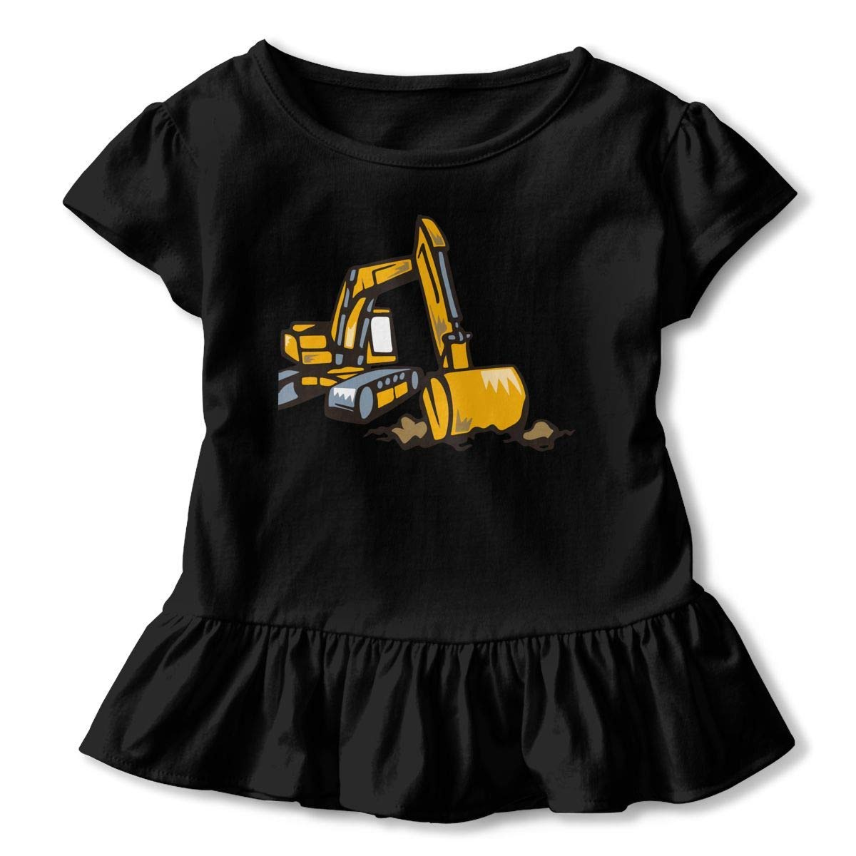 PMsunglasses Short Sleeve Excavator T-Shirts for Kids Fashion Tunic Tops with Falbala 2-6T