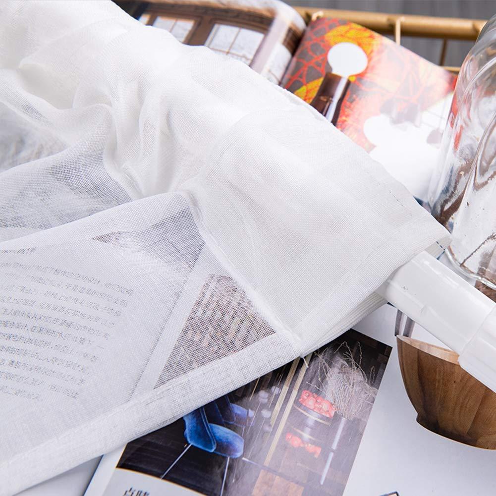 Cafopgrill 1 Unids Semi Sheer Bordado Poli/éster Cortina Cortina Neta Dormitorio Cortina del Gabinete de Cocina para la Ventana Peque/ña Decoraci/ón Amarillo