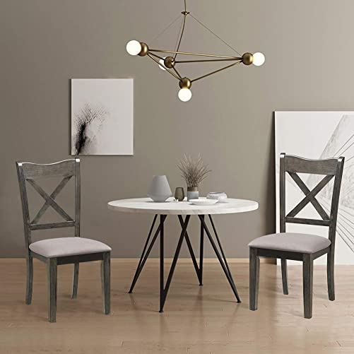 WATERJOY Dining Chairs, Set of 2 Kitchen Dining Chairs Rubber Wooden Upholstered Fabric Padded Seat, Cushioned Dining Seat Household Kitchen Stool Chair for Household, Cafe, Office Grey