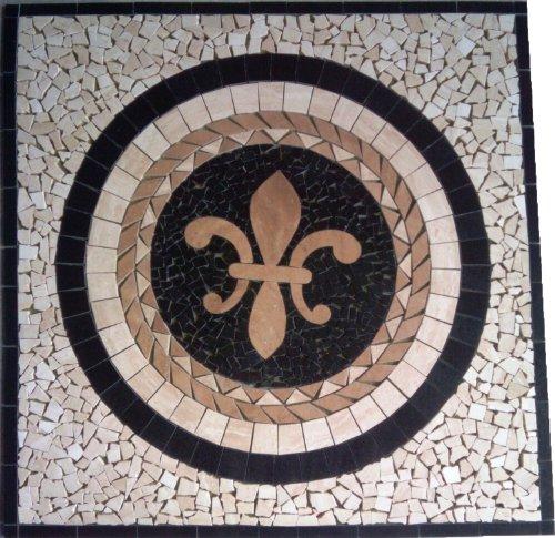Mosaic Square Inch Tile 36 (Tile Floor Medallion Marble Mosaic Fleur de Lis Square Design 36