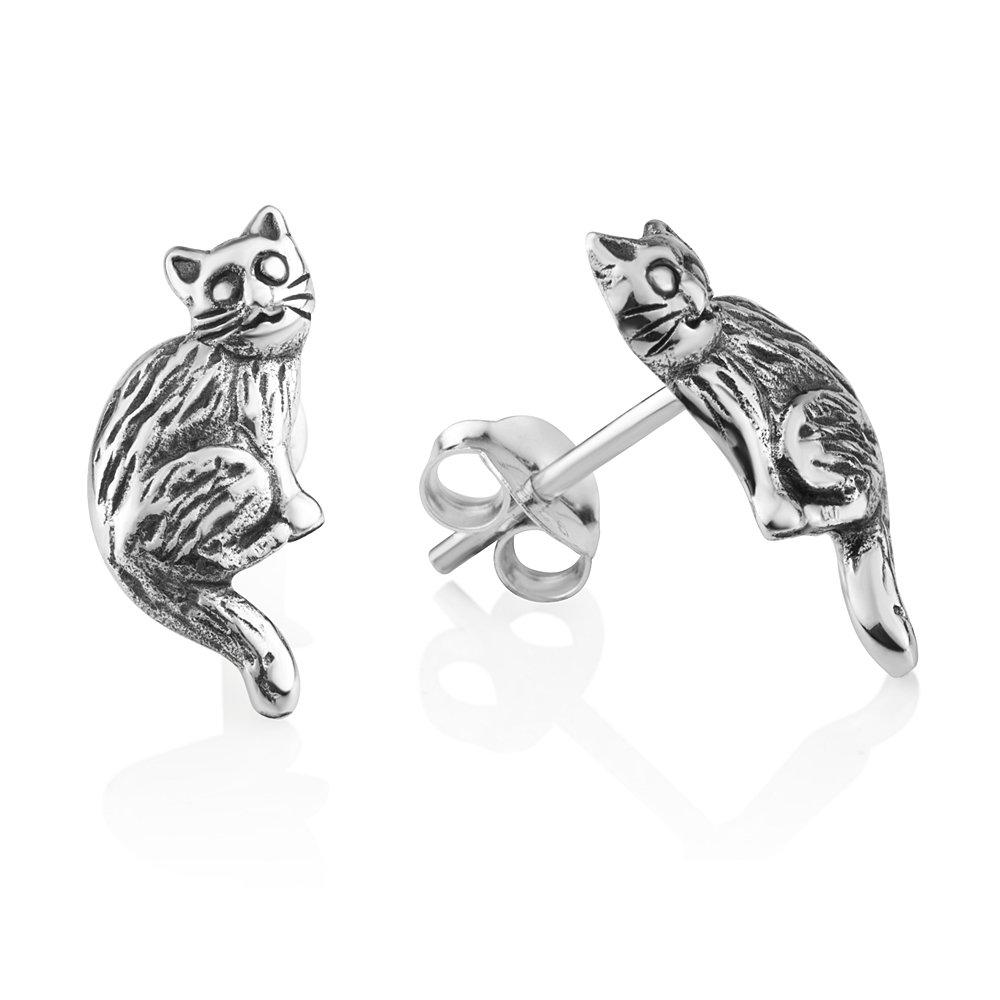 925 Oxidized Sterling Silver Vintage Cute Sitting Cat Kitten Pet Lover Post Stud Earrings 16 mm