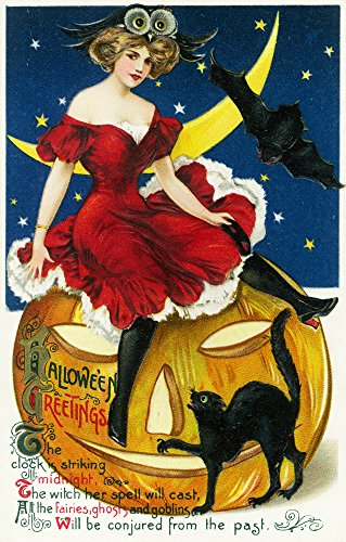 Halloween Greetings Woman on Jack-o-Lantern - Vintage Holiday Art (9x12 Art Print, Wall Decor Travel Poster)