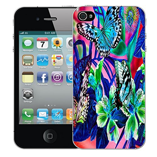 Mobile Case Mate iPhone 5s Silicone Coque couverture case cover Pare-chocs + STYLET - Garden Pictoral Design pattern (SILICON)