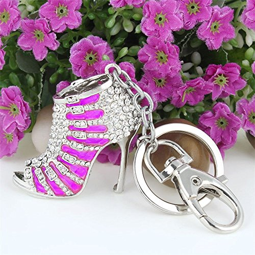 JewelBeauty Cute Lovely High Heeled Shoes Heels Rhinestone Crystal Keychain Charm Pendent Beautiful Accessories Best Gift For Girl Women Purse Charm Handbag Phone Bag Keyrings (pink) (Heel Purse)