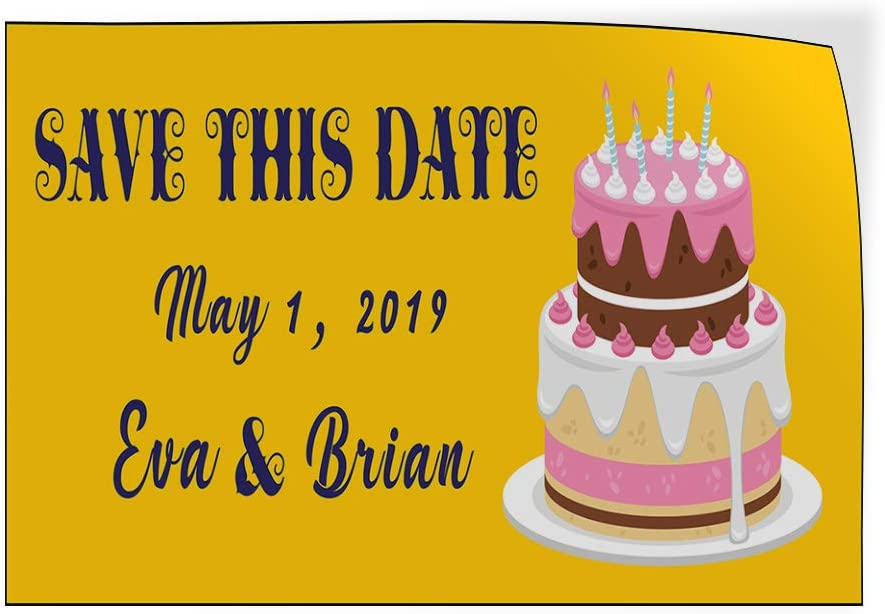 Custom Door Decals Vinyl Stickers Multiple Sizes Save This Date Wedding Announcement Lifestyle Wedding Outdoor Luggage /& Bumper Stickers for Cars Yellow 20X14Inches Set of 10