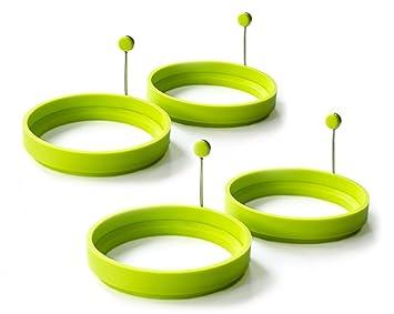 2pcs silicona antiadherente Huevos Pancake anillo de cocina huevo frito molde redondo, color verde: Amazon.es: Electrónica