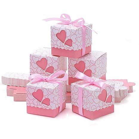 Kingsley 50pz Bomboniere papel Candy cajas regalo, cajas Cubo portaconfetti tarjetas boda caja con la