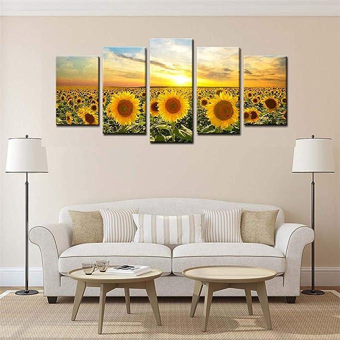 BBQBQ Pintura Decorativa, Chorro de Tinta Sun Sunflower Home ...