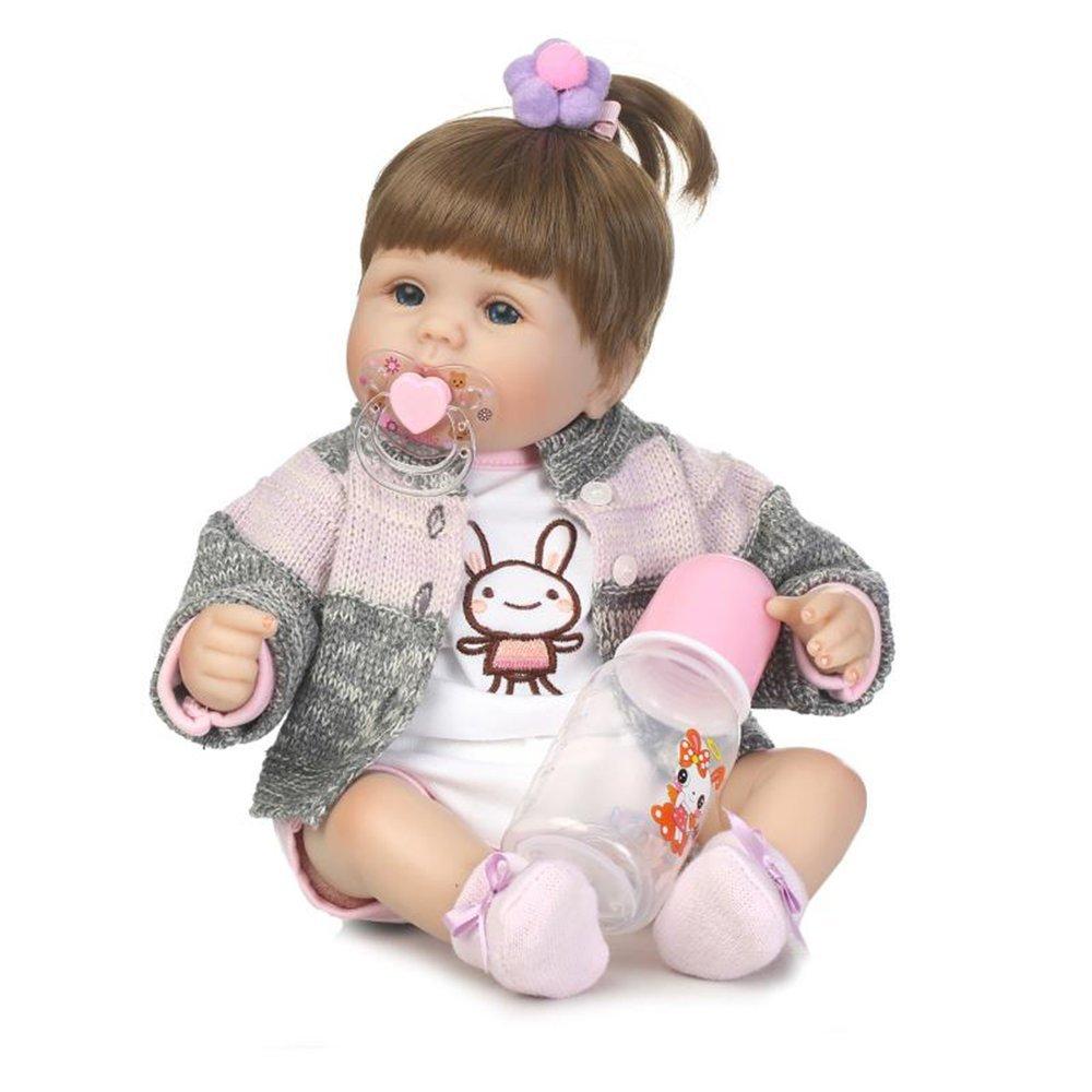 40 cm de tela de tela suave de silicona vinilo muñeco de bebé realista recién nacido muñeca juguetes (Color colorido)