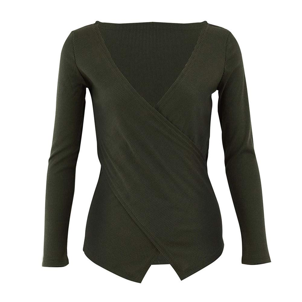 Deep V-Neck Knitted Basic Blouse Cross Long Sleeve Shirt Women Londony Clearance Sale Perfect Winter Tops