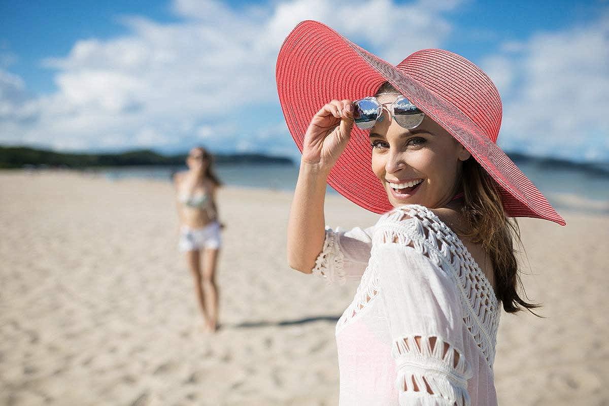 UV Protection D/ét/é Pliable Chapeau Femme Plage Beachwear Voyage F/ête Dafunna Femme Chapeau de Soleil Large Disquette Bord Chapeau de Paille UPF50 Rose Rouge