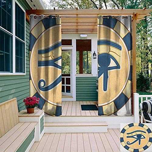 (leinuoyi Eye, Sun Zero Outdoor Curtains, Ancient Healing Protection Symbol Amulet Mystical Sign Belief Religion Theme, Fabric by The Yard W96 x L96 Inch Blue Yellow Brown)