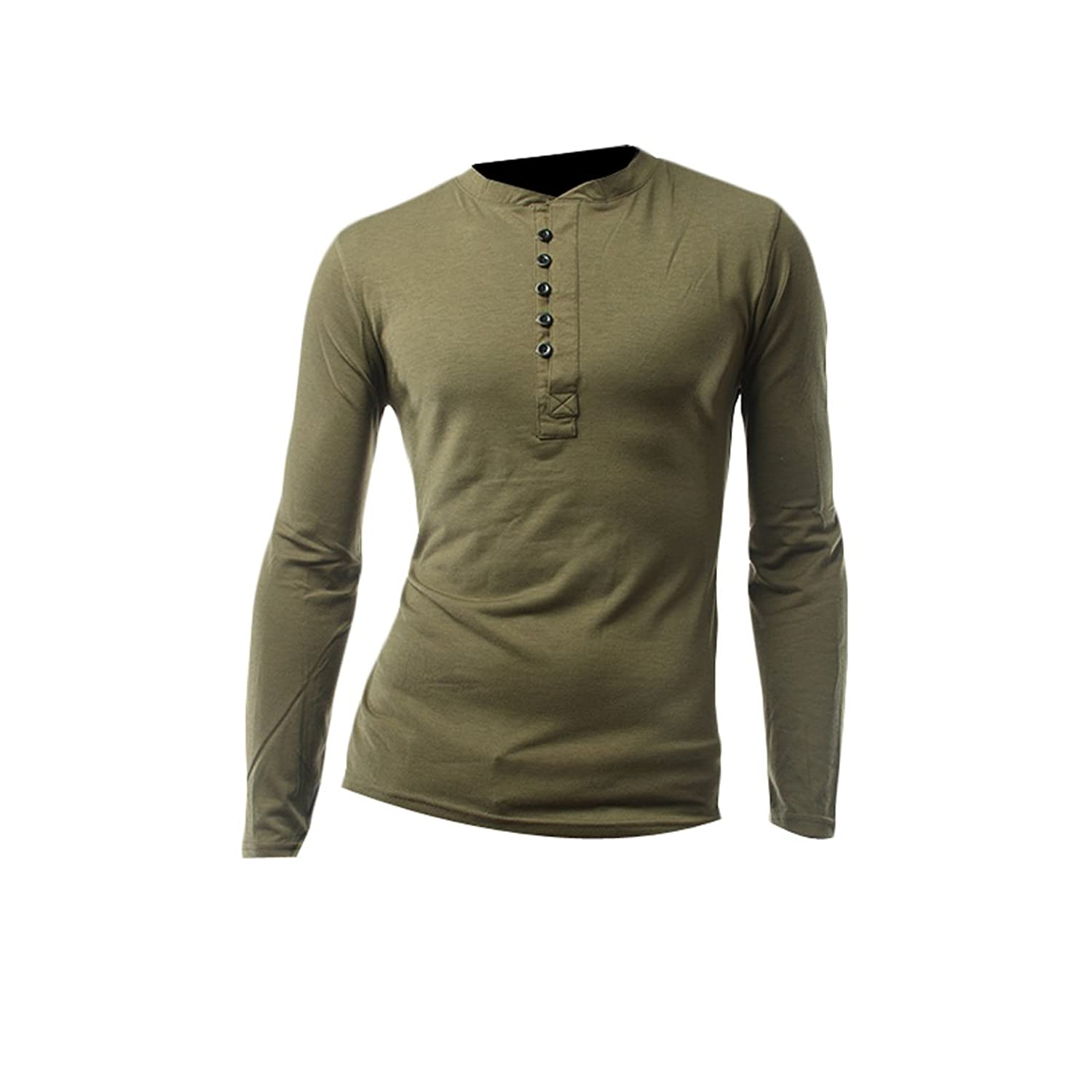 Vska Mens Casual Long Sleeve Tee Button Up Slim Fit Solid shirts