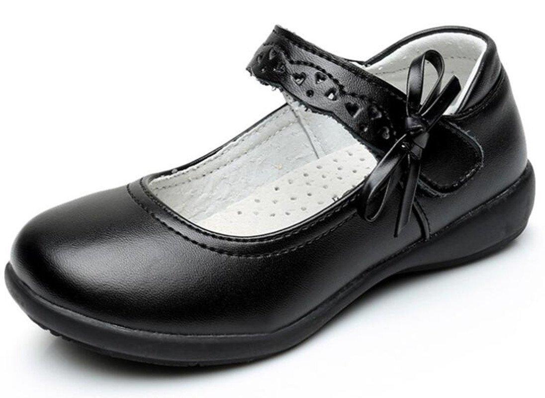 Bumud Kids Girl's School Uniform Mary Jane Bow Flat Dress Shoes (Toddler/Little Kid) (2 M US Little Kid, Black)