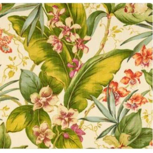 Set of 2 Indoor / Outdoor 20'' Decorative Throw Pillows - Tommy Bahama Fabric - Pink Green Cream Tropical Floral