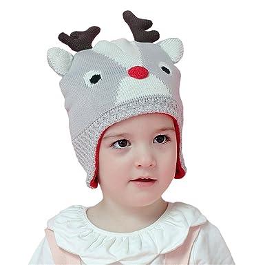 02da32fc65339 DB-Children hat Beanie Hat Deer Kids Baby Girls Boys Autumn Winter Ski  Knitted Ear