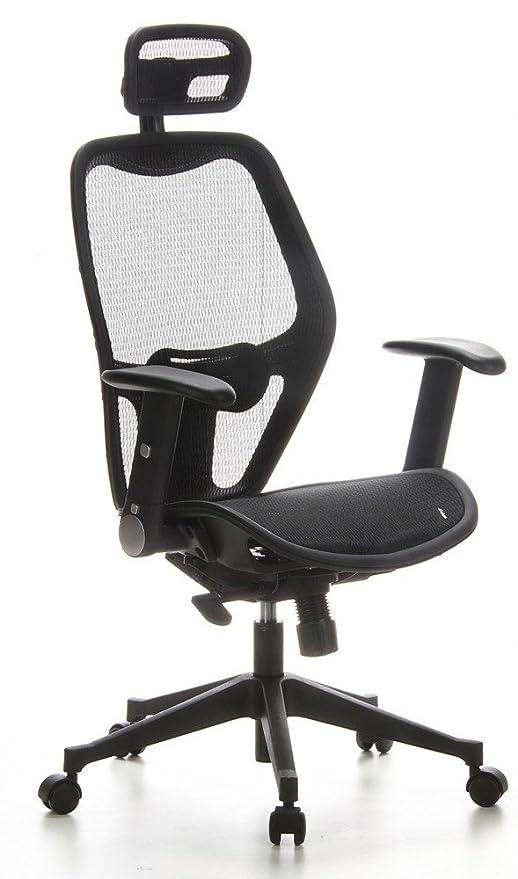 hjh OFFICE 653000 silla de oficina AIR-PORT tejido de malla negro, apoyabrazos plegables, soporte lumbar, apoyacabezas, inclinable, sillón alta gama