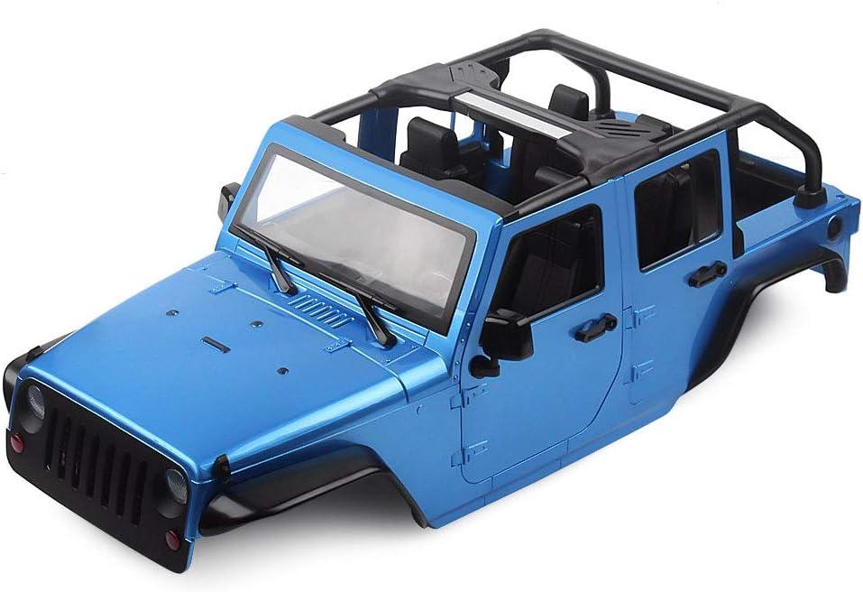 INJORA RC Carrocería Kit 313mm Distancia Entre Ejes Corpo Cuerpo Jeep Wrangler Body Car Shell para 1/10 RC Crawler Axial SCX10 90046 (Azul)