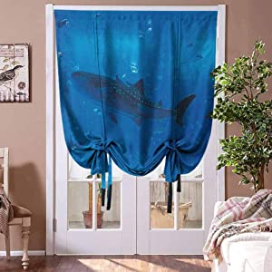 """Roman Shades Blinds Shark Blackout Tie Up Shade Japanese Aquarium Park with People Silhouettes Watching Underwater Life Hobby Image for Baby's Window Blue Black Rod Pocket Panel, 31""""W x 63""""L"""