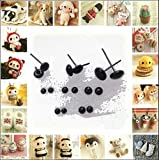 Wool Fibre Roving for Needle Felting Material Kit DIY Accessories Black Beans Needle Type Eyes Ball 60 Pair