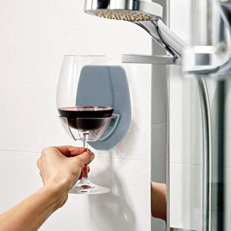 Womdee Titular de Vino portátil de Vidrio de Silicona, Soporte de Copa de Vino Creativo Titular de Vidrio Rojo Festival Regalos Ducha de baño Copa de ...