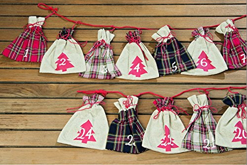 Whole House Worlds The Christmas Countdown Advent Calendar with 24 Mini Sacks, Garland Swag, Over 8 Ft Long, Plaid and Linen, From Our Rustic Holiday Home Collection, By -