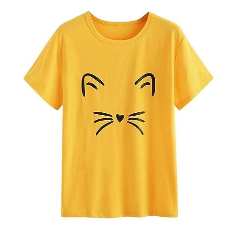 Yeamile💋💝 Camiseta de Mujer Tops Negro Blusa Causal Ocasionales Camiseta Causal de Las Mujeres