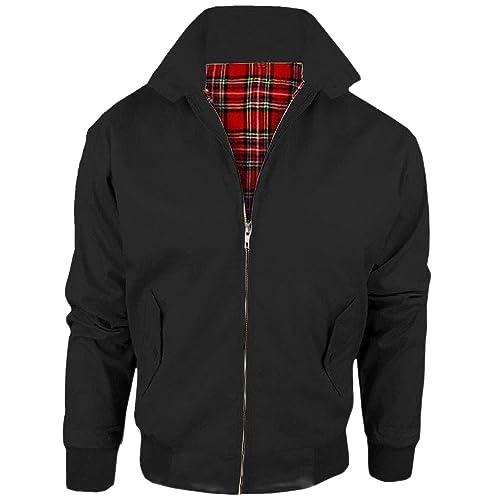 MyShoeStore - Chaqueta tipo Harrington para adulto, unisex, estilo vintage / clásico / retro de motorista de los años 70, chaqueta de cuero con forro de tartán, tallas XS a 5 XL