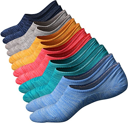 Mens No Show Socks Casual Low Cut Athletic Cotton Socks with Anti-slip Silica Gel 6 Pairs