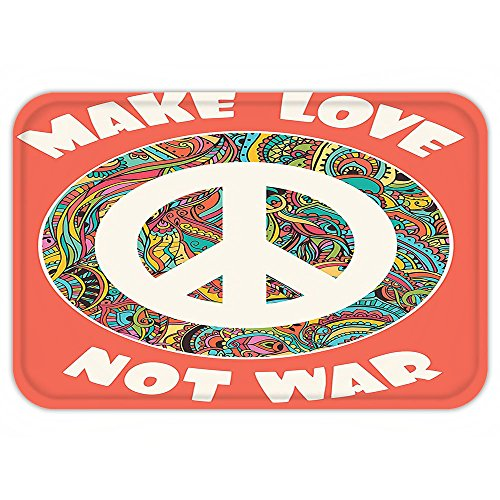 Creative Cute Halloween Costumes College (Kisscase Custom Door MatGroovyDecoration Hippie Style Ornamental Creative Youth History PoliticMake Love Not War Text Decor)