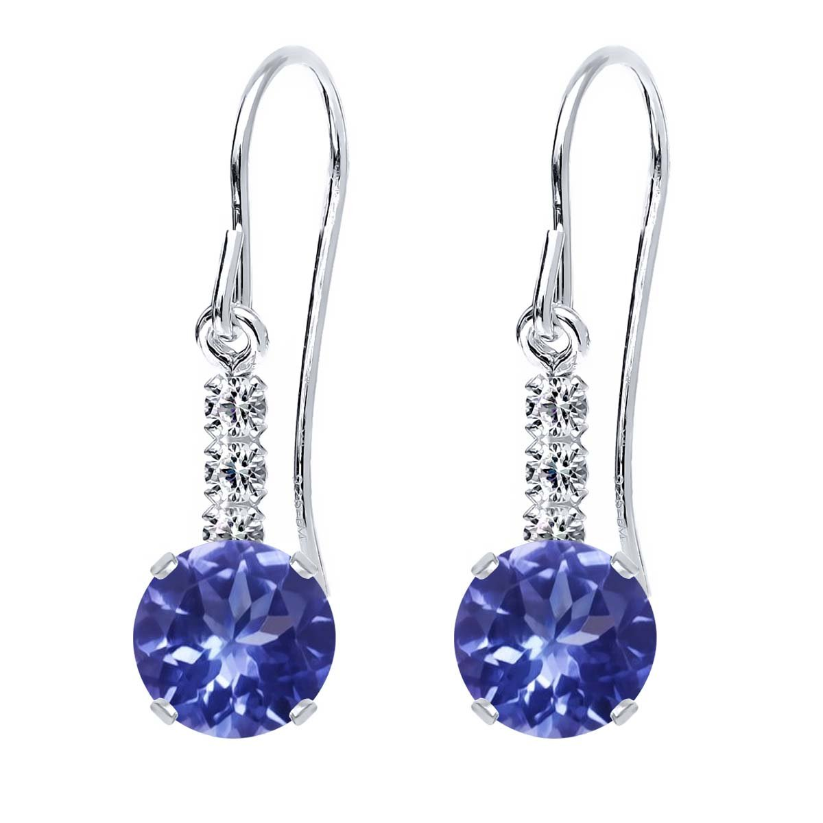 2.02 Ct Round Blue Tanzanite 925 Sterling Silver Earrings