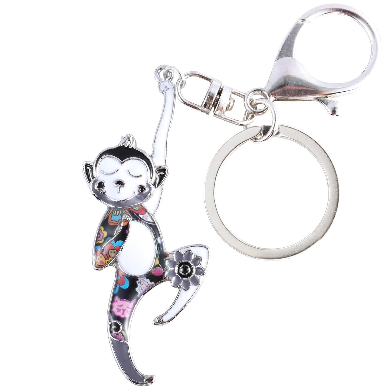 Luckeyui Lovely Monkey Keychains for Women Black Enamel Monkey Charm Keyring Gift