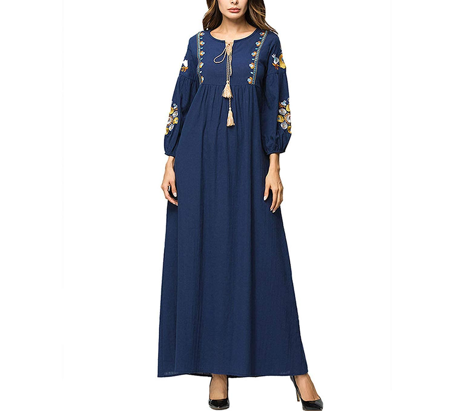 Navy bluee dress Maxi Long Dress Women Elegant Vintage Floral Embroidery Long Sleeve Dresses Female High Waist