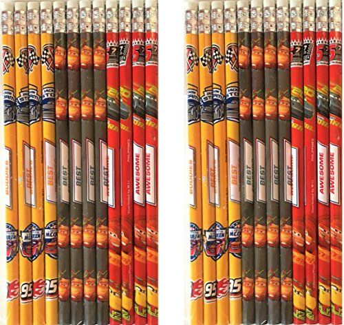Disney Cars 3 Authentic Licensed 24 Wood Pencils Pack ()