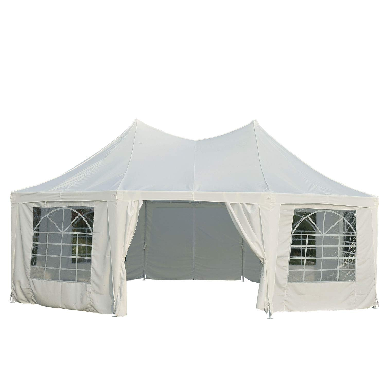 Outsunny 22 x 16 Large Octagon 8-Wall Party Canopy Gazebo Tent – White