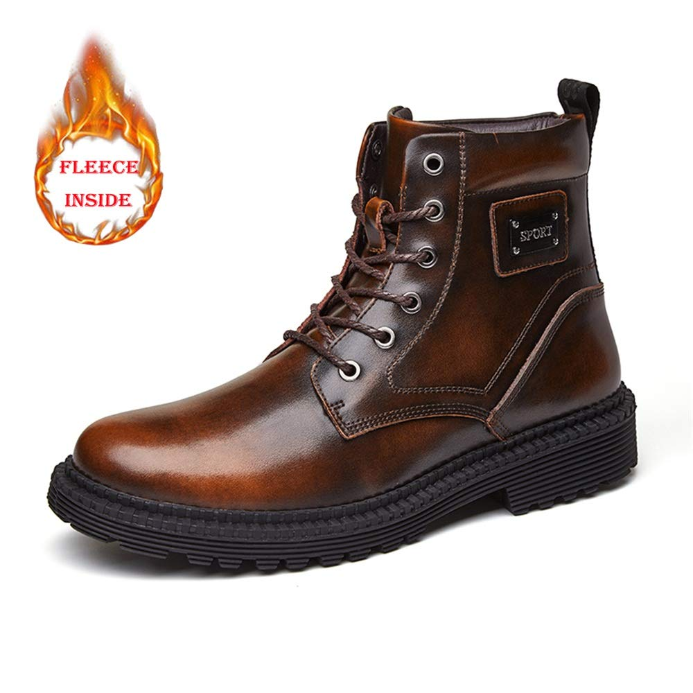 YAJIE-Stiefel, Herren Innenseite runde Kappe Außensohle Freizeit Stiefeletten Lässig und bequem warme Fleece-Schuhe (konventionell optional) (Farbe   Warm braun, Größe   38 EU)