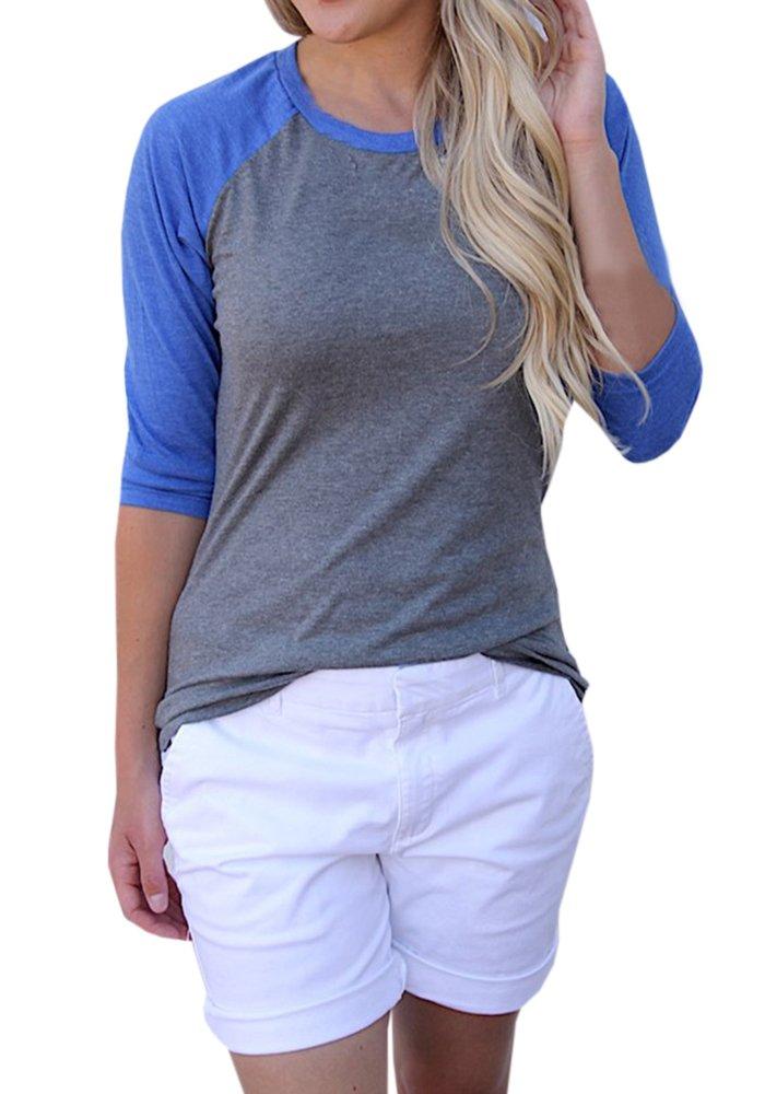 Blanycool Womens Baseball T-Shirt 3/4 Sleeve Raglan Shirts Casual Color Block Tops Blouse