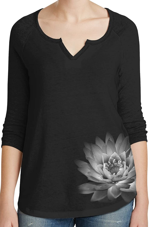 "Yoga Clothing For You Ladies ""Lotus Flower"" V-notch Tee Shirt"