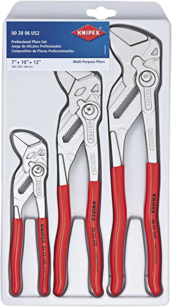 KNIPEX 00 20 06 US2 3 Piece Pliers Wrench Set