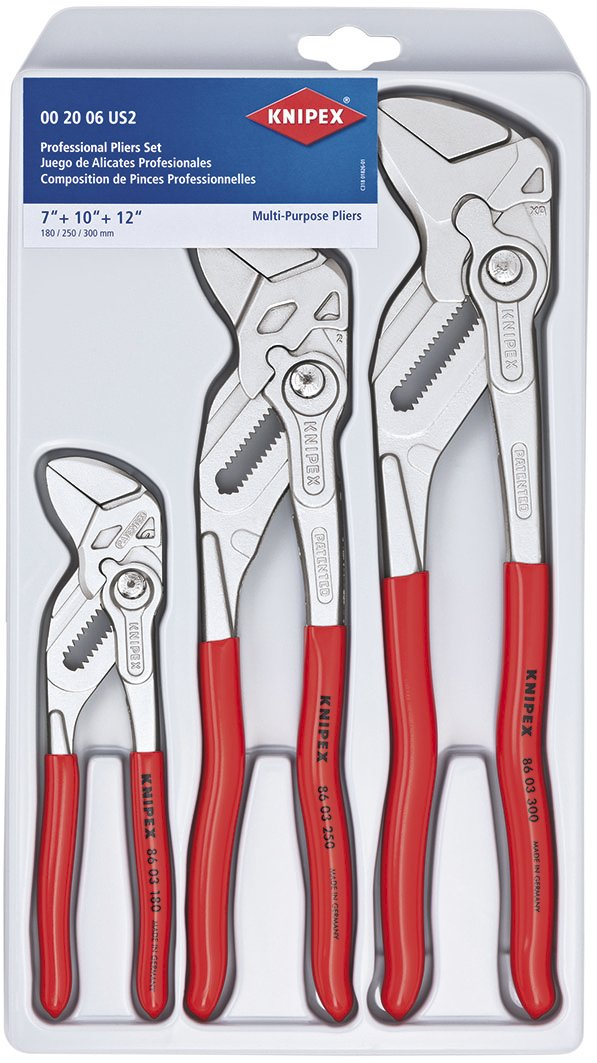 KNIPEX Tools 00 20 06 US2, Pliers Wrench 3-Piece Set by KNIPEX Tools