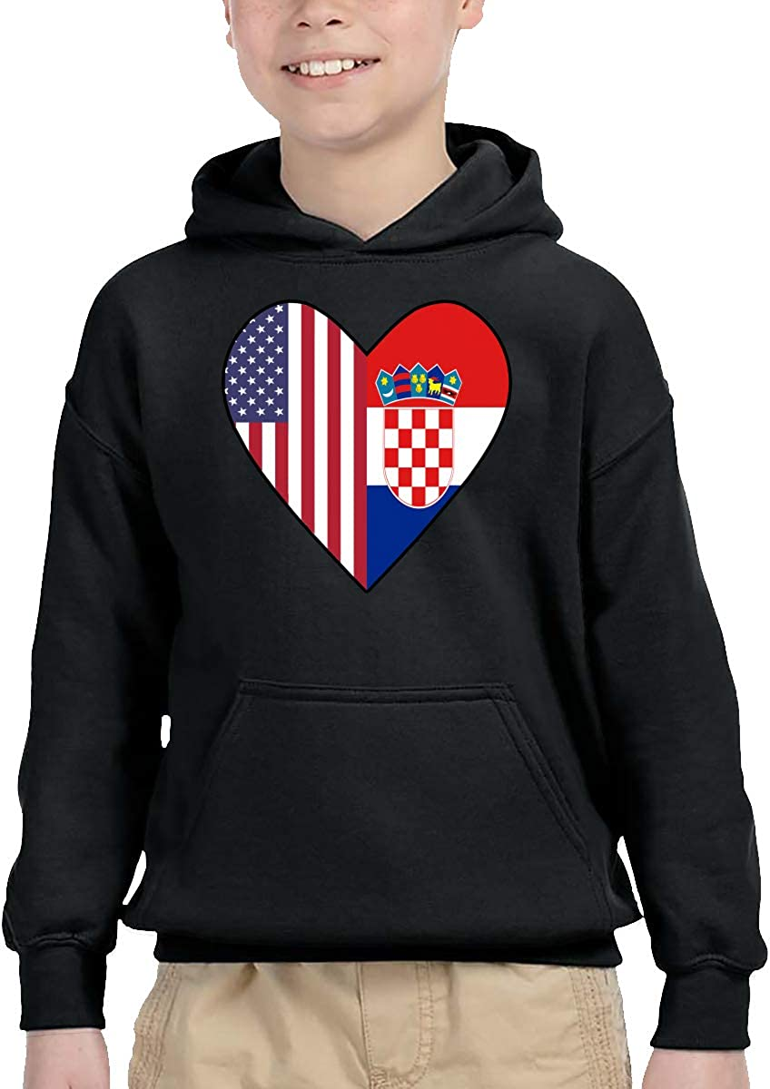 Toddler Boys Girls Pullover Hoodie Fleece Half Croatia Flag Half USA Flag Love Heart Hoodie