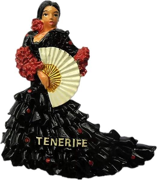 Weekino Souvenir Tenerife Baile Flamenco España Imán de Nevera Resina 3D Viaje de la Ciudad Recuerdo de Viajes Colleciton Pegatina: Amazon.es: Hogar