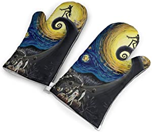 BWBFVPW Starry Night Nightmare Before Christmas Oven Mitts Non-Slip Heat Resistant Soft Cotton Lining Kitchen Gloves for Cooking Baking BBQ