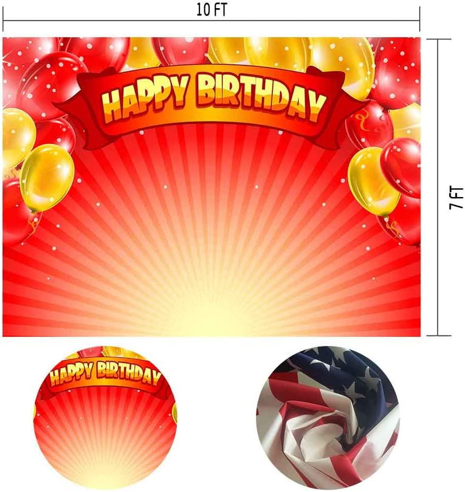 MTMETY 10x7ft Colorful Balloons Red Rays Background Photo Studio Photo Booth Backdrop Props LSME967