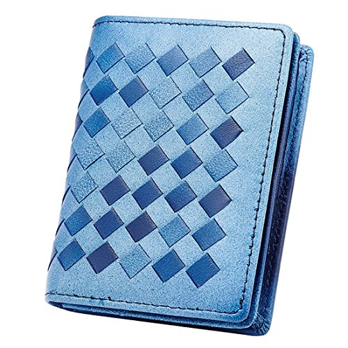 Esdrem Premium Lambskin Business Name Card Holder Slim Compact Credit Card Case Wallet with ID Window Zip Coin Pocket (Light Blue) ()