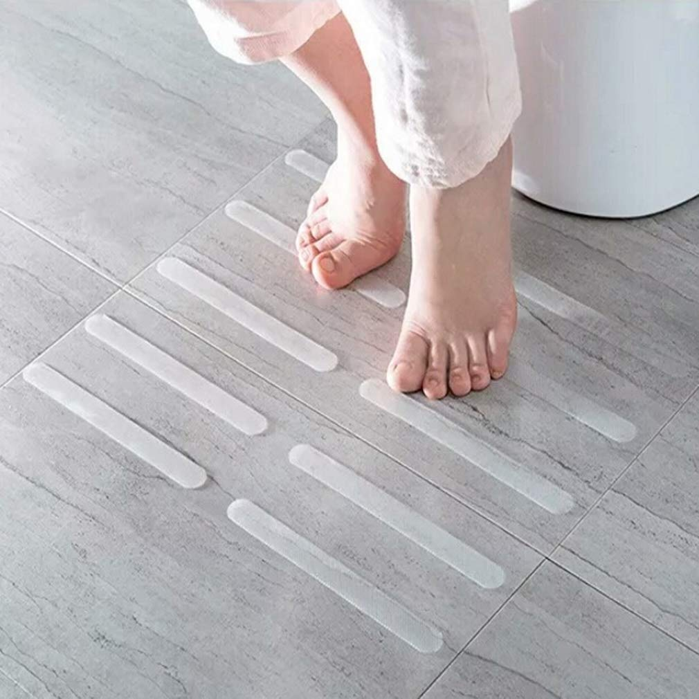 GUAngqi 5pcs Adhesive Non Slip Strips Stickers for Bath Shower Flooring Safety Tape Mat Anti-Slip Strips Shower Stickers Bath Safety Strips Transparent Non Slip Strips Stickers for Bathtubs Showers