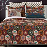 Boho Moroccan Quilt Set with Shams Geometric Pattern Medallion Mandala Earth Tones Orange Brown 100 Cotton Luxury Reversible 2 Piece Twin Size Print Bedding - Includes Bed Sheet Straps