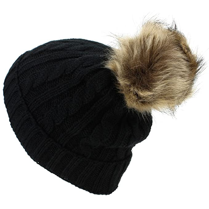 4e14795f56c Hawkins Childrens Cable Knit Beanie Hat with Faux Fur Bobble and Turn-up -  Black  Amazon.co.uk  Clothing