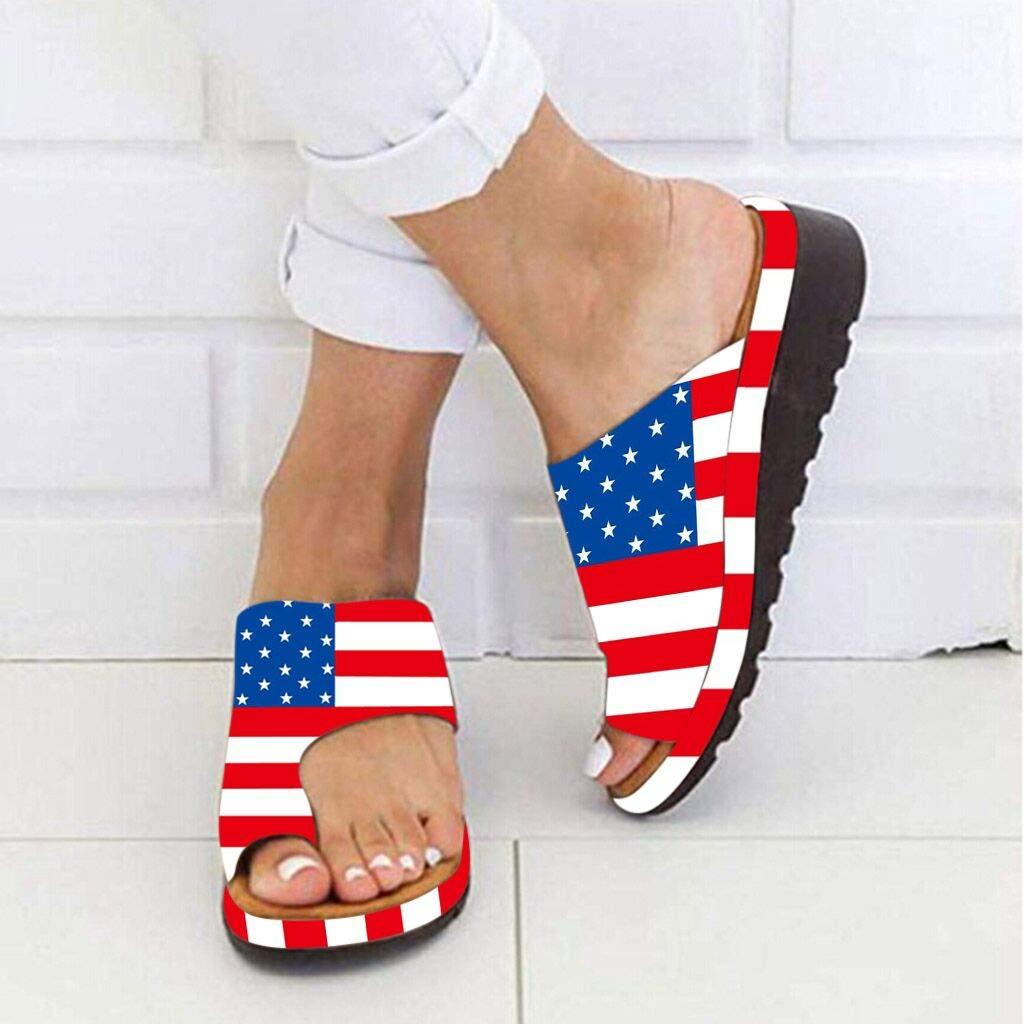 Cooljun Frauen Strand Sommer Casual Flip Flop Sandalen Frauen Amerikanische USA Flagge Patriotischen Schuhe Dicke Bottomed Sandal Schuhe Keilabsatz Sandalen Klippzehe Sommer Strand Schuhe
