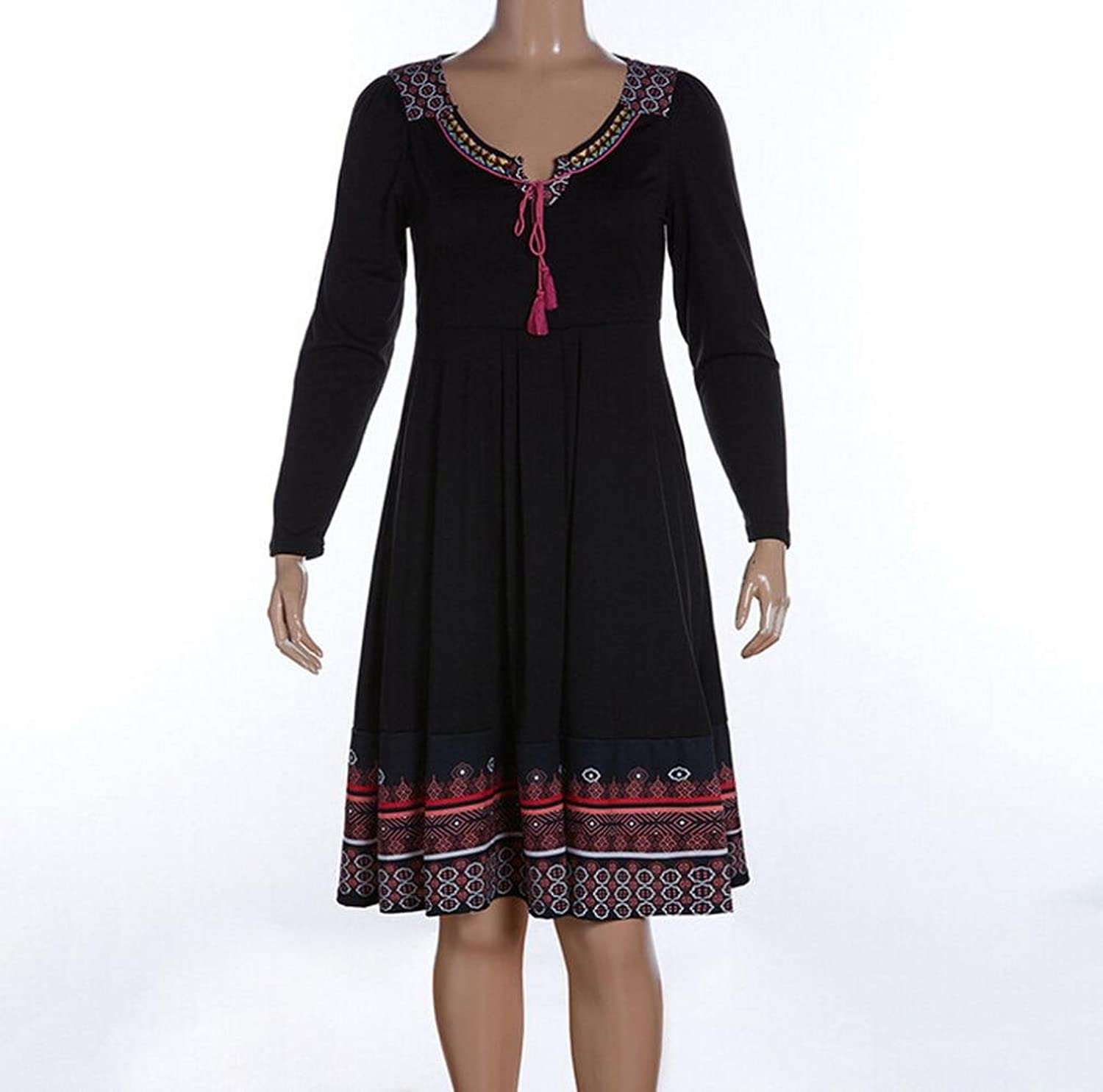 Dress, Orangeskycn Women Embroidery Plus Size Dresses Cotton Retro Long Sleeve Strap Dress at Amazon Womens Clothing store: